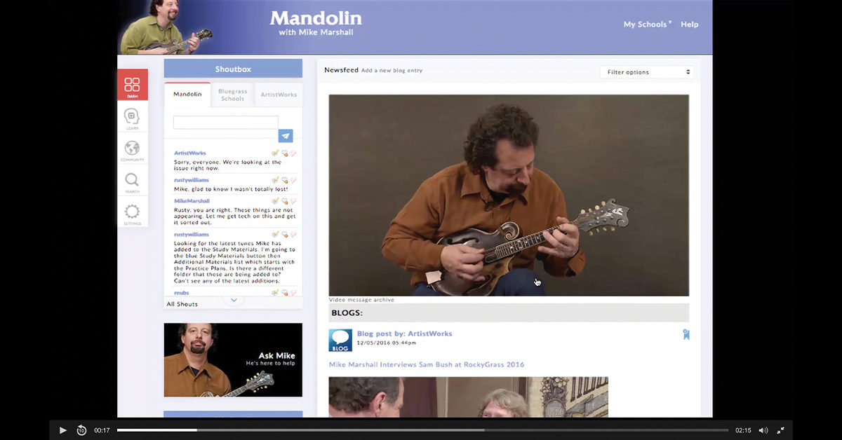 Mandolin with Mike Marshall website screenshot